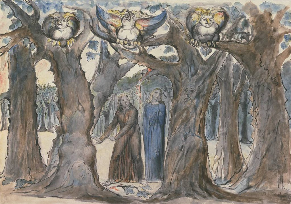 Le vampire : reflet de l'évolution de la société | 1ère partie - The Wood of the Self-Murderers: The Harpies and the Suicides, c. 1824–27. William Blake, Tate. 372×527 mm.