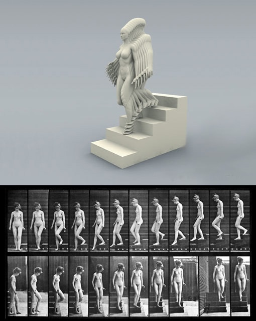 Peter jansen et Human motions - Eadweard Muybridge - Etudes de mouvements : Femme descendant un escalier