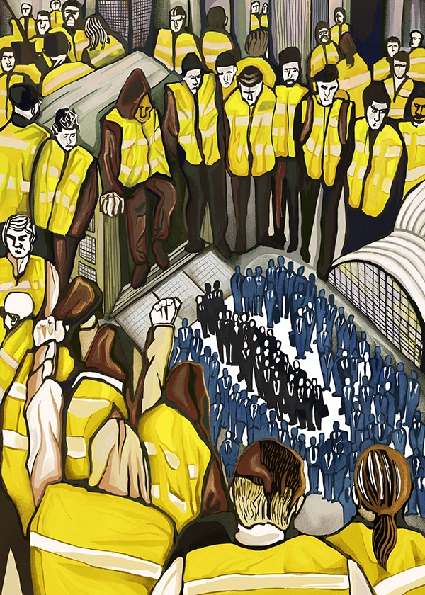 Quelles influences des Gilets Jaunes en Europe ? illustration Yellow Jackets 6 april, David Amblard, 2019