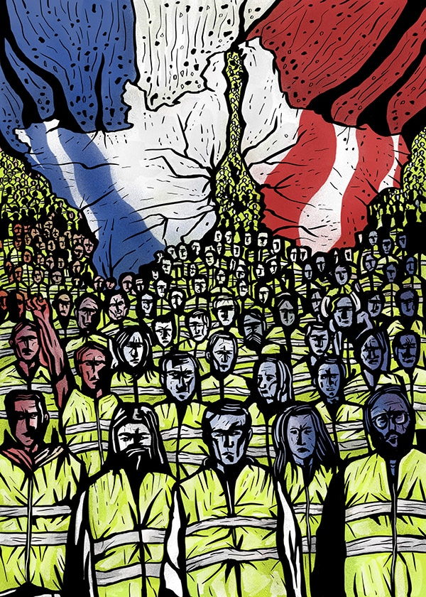 Quelles influences des Gilets Jaunes en Europe ? illustration Pride to be french, David Amblard, 2019